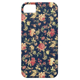 PJ navy and pink retro rose print. iPhone 5 Covers