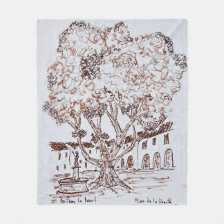 Place de la Liberte, Saint-Guilhem-le-Desert Fleece Blanket