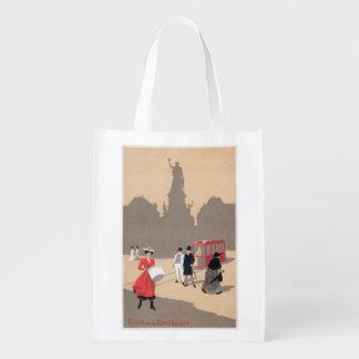 Place de la Republique Art Deco Scene Reusable Grocery Bag