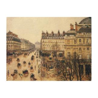 Place du Theatre Francais, Paris : Pluie par Impressions Sur Bois