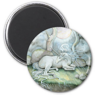 Place of Peace Watercolor Art Unicorn Fantasy 2 Inch Round Magnet