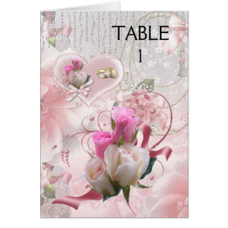 Place Table Cards Pink Flowers Rings