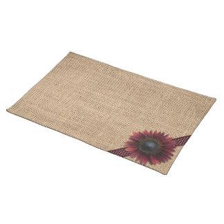 Placemat - Burlap and Bordeaux Sunflower