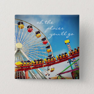 """Places"" quote ferris wheel & roller coaster photo 2 Inch Square Button"