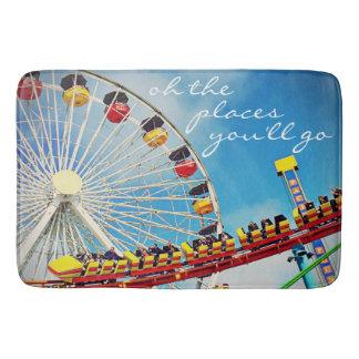"""Places"" Quote Ferris Wheel & Roller Coaster Photo Bath Mat"