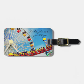 """""""Places"""" Quote Ferris Wheel & Roller Coaster Photo Luggage Tag"""