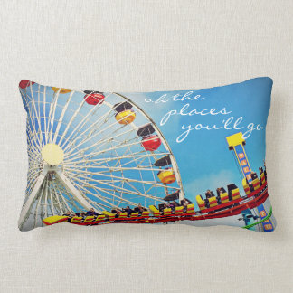"""Places"" Quote Ferris Wheel & Roller Coaster Photo Lumbar Pillow"