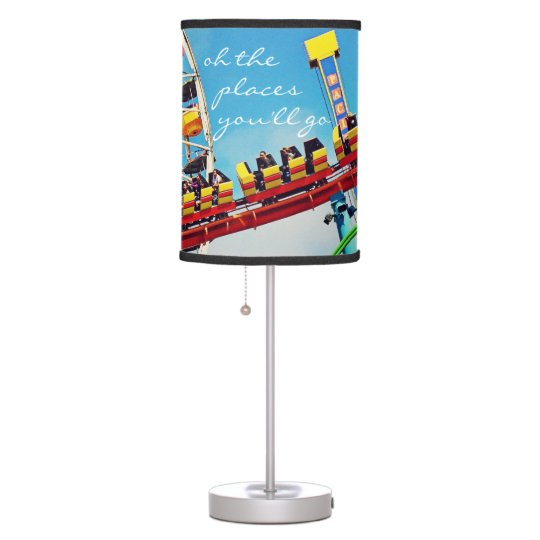 """Places"" Quote Ferris Wheel & Roller Coaster Photo Table Lamp"