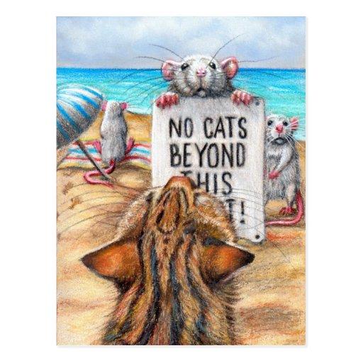 """Plage de chat de rat carte postale de signe de """"au"""