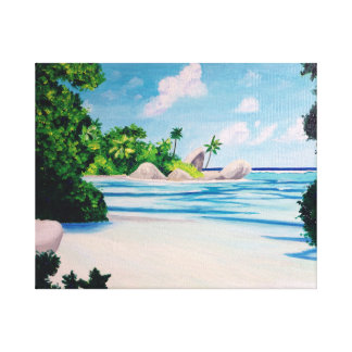 Plage, vacances, paysage de plage admirable toile tendue sur châssis