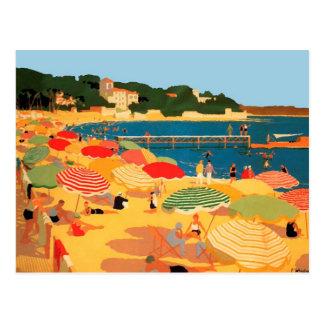 Plage vintage de la Côte d Azur Carte Postale