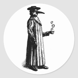 Plague Doctor with a Hot Cuppa Round Sticker