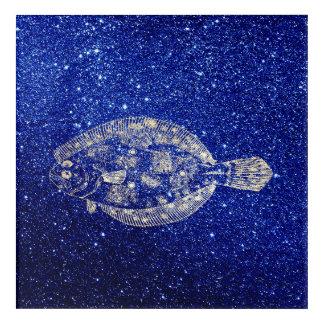 Plaice Fish Sea Ocean Blue Navy Foxier Gold Acrylic Print