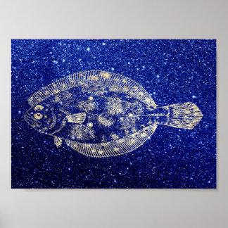 Plaice Fish Sea Ocean Blue Navy Foxier Gold Poster