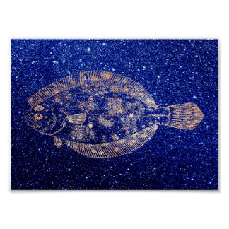 Plaice Fish Sea Ocean Blue Navy Rose Gold Poster