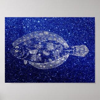 Plaice Fish Sea Ocean Blue Navy Silver Gray Poster