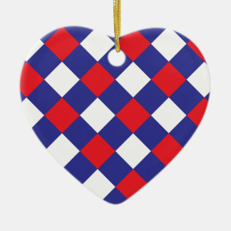Plaid 1 Red White Blue Ceramic Ornament