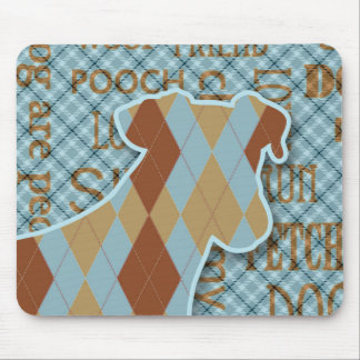 Plaid and Argyle Blue and Brown Dog Mouse Pad
