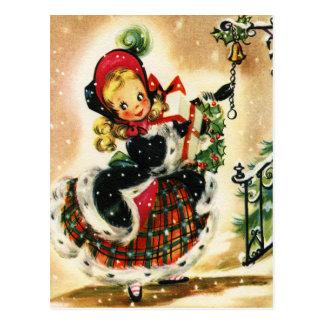 Plaid and Fur Christmas Girl Postcard