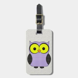 Plaid and Polka Dot Owl V2 Luggage Tag