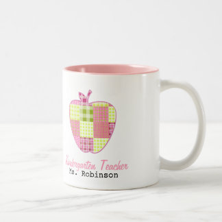 Plaid Apple Kindergarten Teacher Two-Tone Coffee Mug