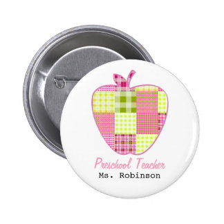 Plaid Apple Preschool Teacher 2 Inch Round Button