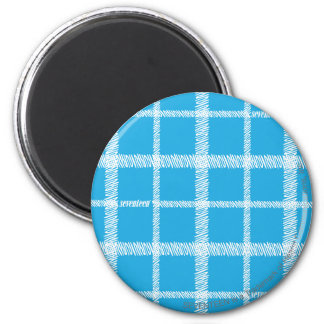 Plaid Aqua 2 Inch Round Magnet