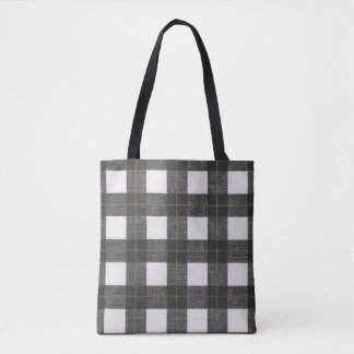 plaid black white country rustic tote bag
