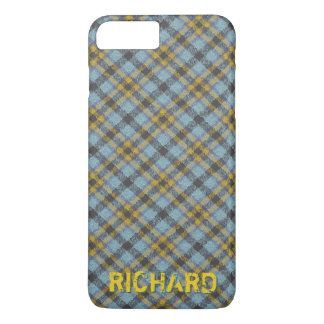 Plaid Blue and Gold Name Template iPhone 8 Plus/7 Plus Case
