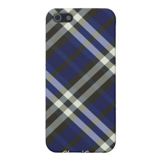 Plaid Blue Silver Stripes Pern  Case For The iPhone 5