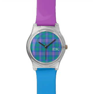 PLAID  | bright purple, green and blue Watches