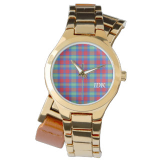 PLAID | bright red, green and blue Watch
