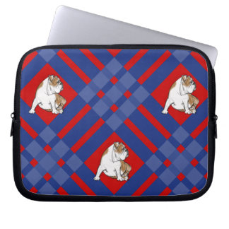 Plaid Bulldog Laptop Computer Sleeves