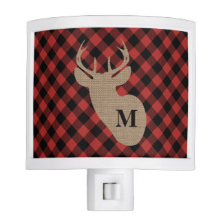 Plaid + Burlap Deer Night Light