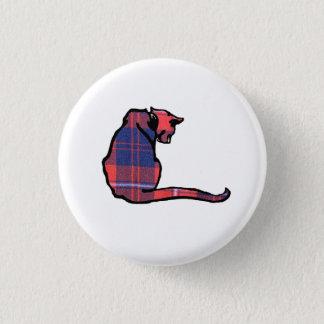Plaid Cat 1 Inch Round Button