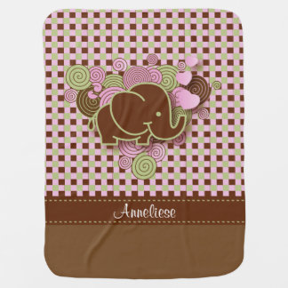 Plaid Checker Elephant Design | Pink Brown Green Baby Blanket