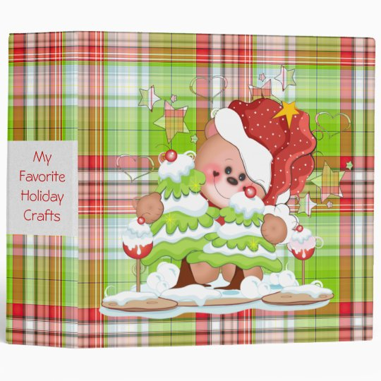 Plaid Christmas Bear 3 Ring Binders