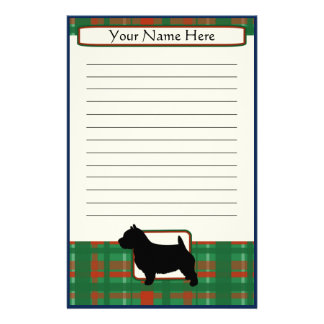 Plaid Christmas Norwich Terrier Stationery