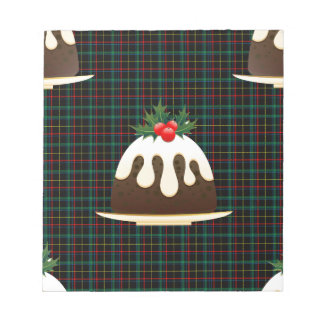plaid christmas puddings notepad