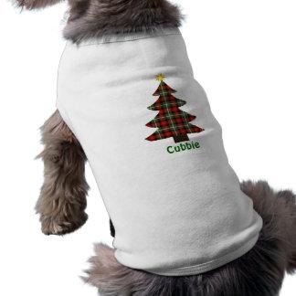Plaid Christmas Tree Personalized Name Dog Shirt