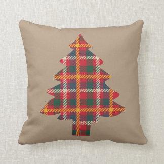 Plaid Christmas Tree Throw Pillow
