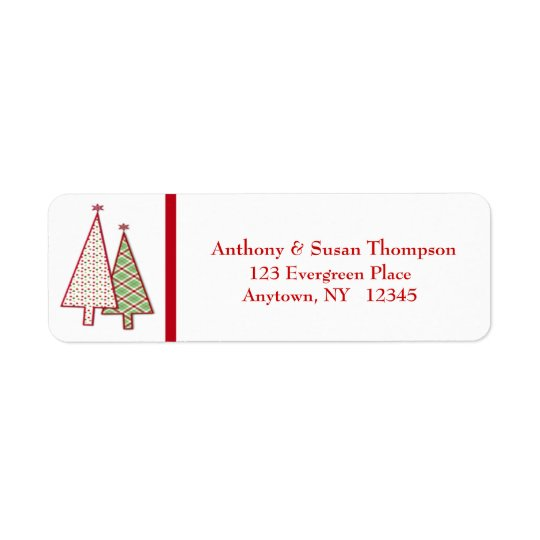 Plaid Christmas Trees Address Label