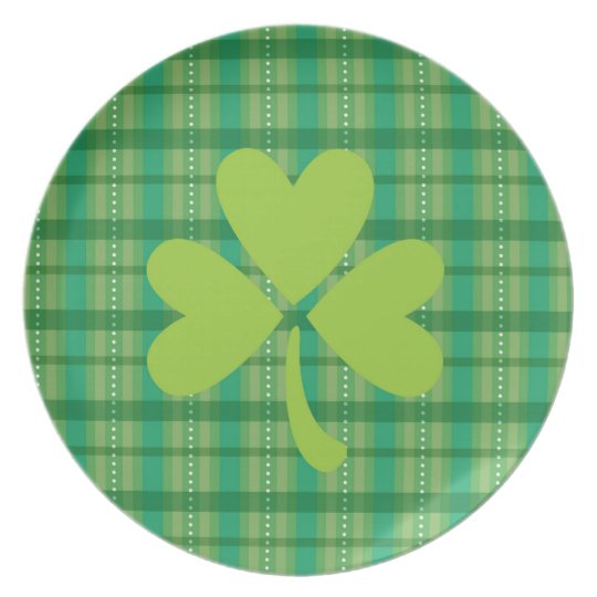 Plaid Clover St. Patrick's Day Shamrock Plate