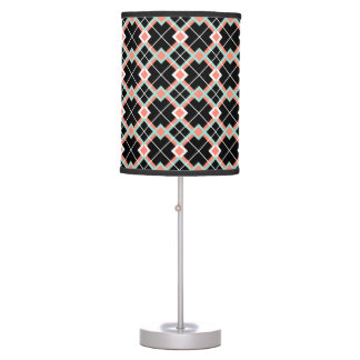 Plaid (Coral Mint Black White) Table Lamp