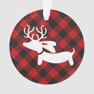 Plaid Dachshund Christmas Tree Ornament