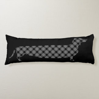 Plaid Dachshund on Black Body Pillow