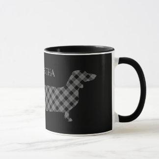 Plaid Dachshund on Black Mug