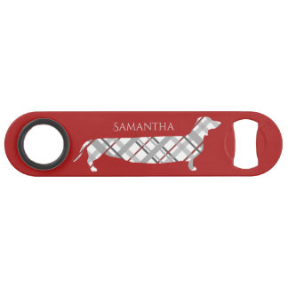 Plaid Dachshund on Red Bar Key
