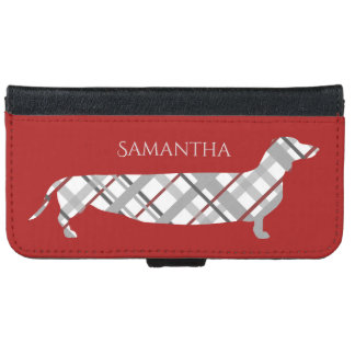 Plaid Dachshund on Red iPhone 6 Wallet Case