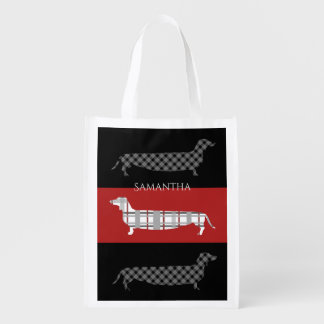 Plaid Dachshunds on Red and Black Reusable Grocery Bag